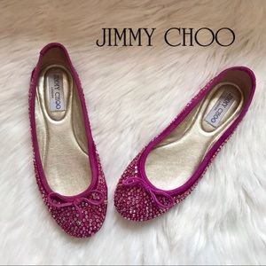 "Authentic JIMMY CHOO Logo ""Weber"" Crystal Flats"